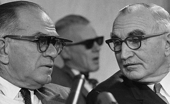 Senator Wayne Morse (R) and Senator William Fulbright (L) at the Senate Foreign Relations Committee