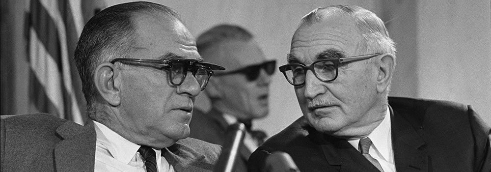 Senator Wayne Morse (R) and Senator William Fulbright (L) at the Senate Foreign Relations Committee