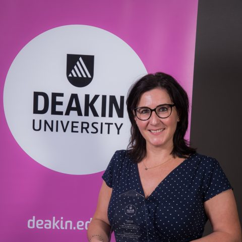 Sophie Perreard accepts the WJC Banks Award for Distinguished Contribution to Teaching. Unfortunately Lois Meier could not attend the ceremony.