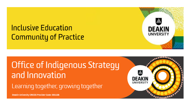 Banners for the Inclusive Education Community of Practice and the Office of Indigenous Strategy & Innovation